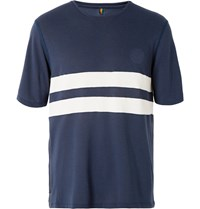 Iffley Road Cambrian Striped Dri Release Running T Shirt Blue