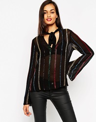 Asos Sequin Stripe Pussy Bow Blouse Black