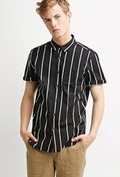 Forever 21 Striped Pocket Shirt Black White