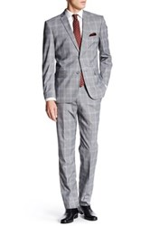 Nicole Miller Grey Multicolored Modern Plaid Two Button Notch Lapel Suit Gray