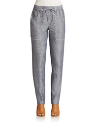 Lord And Taylor Petite Linen Chambray Drawstring Pants Evening Blue