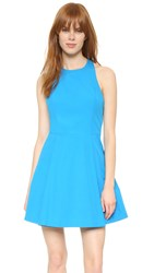 Alice Olivia Christie Crew Neck Box Pleat Dress Jewel Blue