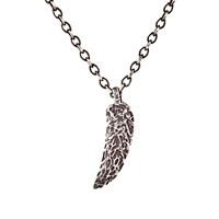 Feathered Soul Men's Feather Pendant Necklace Silver