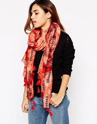 Pieces Printed Scarf With Tassels Tomato