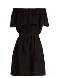 Cecilie Copenhagen Off The Shoulder Ruffled Cotton Dress Black