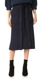 Tibi Owen A Line Twill Skirt Navy