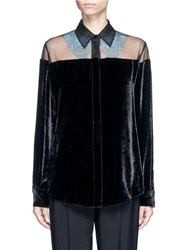 Stella Mccartney 'Carolina' Floral Lace Sheer Yoke Velvet Shirt Black