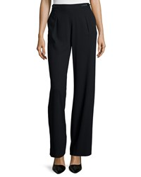 Halston Pleated Front Wide Leg Trousers Black