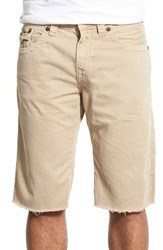 True Religion Men's Brand Jeans 'Ricky' Cutoff Twill Shorts Beige