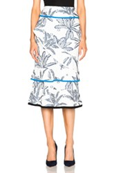 Roland Mouret Vivian Palm Fils Coupe Skirt In White Floral