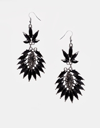 Paper Dolls Spikey Drops Earrings Black