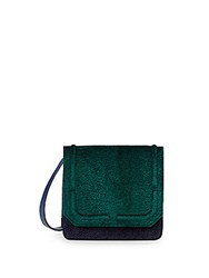 Dannijo Lypton Velvet And Leather Colorblock Crossbody Bag Petrol Green