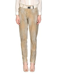 High Denim Denim Trousers Women Beige