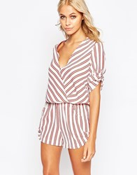 Traffic People Romper With Wrap Front In Stripe Red