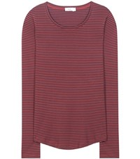 Closed Striped Cotton Top Red