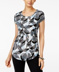 Alfani Petite Printed T Shirt Only At Macy's Geometric Texture Chambray