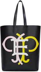 Emilio Pucci Black And Multicolor Leather Logo Tote