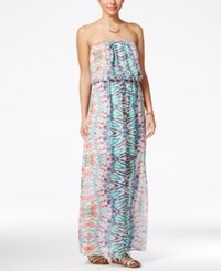 City Triangles City Studios Juniors' Printed Strapless Maxi Dress Green