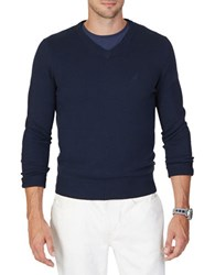 Nautica Solid V Neck Sweater Navy