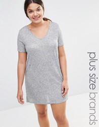 Missguided Plus Metallic T Shirt Dress Grey