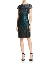 Carmen Marc Valvo Ombre Sequin Sheath Dress