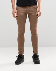 Asos Extreme Super Skinny Jeans In Light Brown Pine Bark