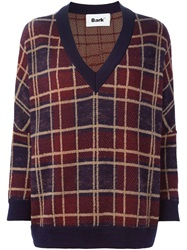 Bark Plaid V Neck Sweater Blue