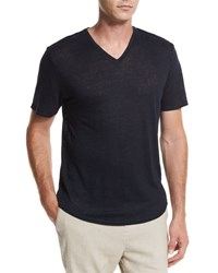 Vince Gaskell Raw Edge V Neck T Shirt Navy