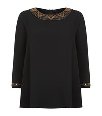 Max Mara Maxmara Embellished Peplum Top Female Black