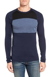 Smartwool Men's 'Nts Mid 250' Long Sleeve Colorblock Crewneck T Shirt Deep Navy Dark Blue Heather