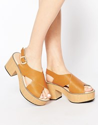 Park Lane Cross Strap Platform Sandals Ta1 Tan 1