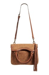 Elle And Jae Gypset 'Ibiza' Perforated Vegan Suede Tote Brown Sable