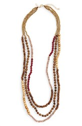 Panacea Women's Wood And Stone Beaded Necklace