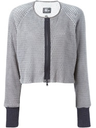 Lost And Found Perforated Cropped Jacket Grey