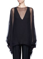 Chloe Balloon Sleeve Silk Crepon Blouse Black