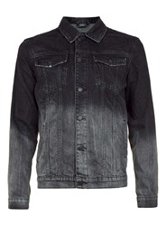 Topman Antioch Black And Grey Denim Jacket With Top Dip