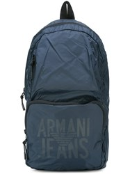 Armani Jeans Logo Print Backpack Blue