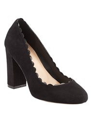 Phase Eight Stevie Scalloped Suede Court Shoes Black