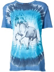 Baja East Tie Dye Horse Graphic T Shirt Blue