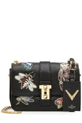 Valentino Leather Shoulder Bag With Embroidered Motifs Multicolor