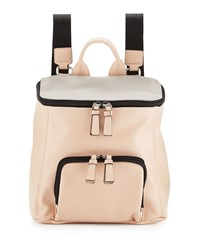 Neiman Marcus Hip Colorblock Zip Top Backpack Pale Mink