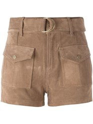 Frame Denim Patch Pockets Mid Rise Shorts Brown
