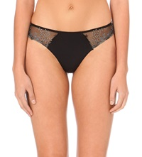 Simone Perele Delice Embroidered Mesh Thong Moonlight