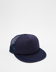 Asos Trucker Cap In Navy With Leaf Embroidery