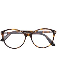 Tom Ford Eyewear Round Frame Glasses Brown
