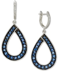 Macy's Sapphire 1 9 10 Ct. T.W. And Diamond 1 10 Ct. T.W. Teardrop Earrings In 14K White Gold Blue
