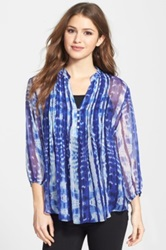 Casual Studio Pleated Print Blouse Blue