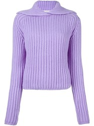 Carven Ribbed Pullover Pink And Purple