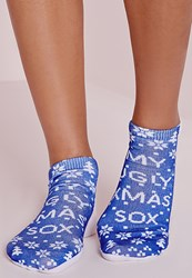 Missguided My Ugly Christmas Sox Socks Blue