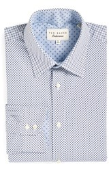 Ted Baker Men's Big And Tall London 'Hewett' Trim Fit Geometric Dress Shirt Blue